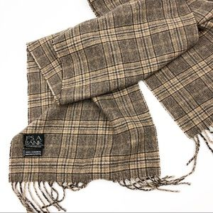 Jos A Banks 100% cashmere plaid scarf